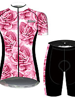 cheap -21Grams Women's Short Sleeve Cycling Jersey with Shorts Pink / Black Floral Botanical Bike Breathable Quick Dry Sports Patterned Mountain Bike MTB Road Bike Cycling Clothing Apparel / Micro-elastic