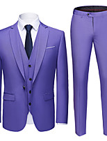 cheap -Tuxedos Tailored Fit Notch Single Breasted One-button Polyester Solid Colored / British / Fashion
