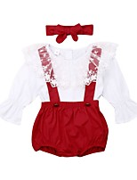 cheap -Baby Girls' Basic Solid Colored Long Sleeve Regular Clothing Set Red