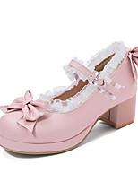 cheap -Women's Heels Chunky Heel Round Toe Bowknot / Buckle PU Sweet / Preppy Spring &  Fall Black / Pink / Beige / Wedding