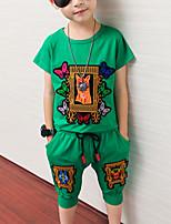 Недорогие -Дети Мальчики Активный На каждый день Черный Однотонный Мультипликация Вышивка С короткими рукавами Обычный Обычная Набор одежды Зеленый