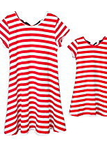 cheap -Mommy and Me Striped Clothing Set Red