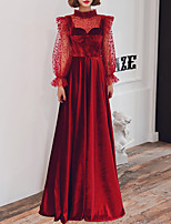 cheap -A-Line High Neck Floor Length Velvet Vintage / Red Prom / Formal Evening Dress with Pattern / Print / Pleats 2020 / Illusion Sleeve