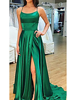 cheap -A-Line Scoop Neck Court Train Satin Sexy / Green Prom / Formal Evening Dress with Split 2020
