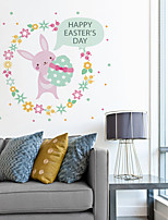 cheap -Decorative Wall Stickers - Plane Wall Stickers / Holiday Wall Stickers Animals / Holiday Nursery / Kids Room Easter Rabbit Egg Wall Sticker For Children'S Room Bedroom