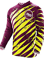 cheap -21Grams Men's Long Sleeve Cycling Jersey Downhill Jersey Dirt Bike Jersey 100% Polyester Yellow Sky Blue White Stripes Bike Jersey Top Mountain Bike MTB Road Bike Cycling UV Resistant Breathable