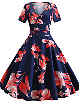 cheap -Women's Navy Blue Dress Active Cute Party Daily Swing Floral Print Deep V Patchwork Print S M / Cotton / Belt Not Included