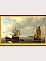 Недорогие -обрамленный художественный принт элегантный дизайн старинный золотой деревянный каркас холст парусник морской пейзаж пс картина маслом стены искусства