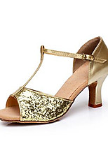 cheap -Women's Latin Shoes Synthetics T-Strap Heel Sequin Cuban Heel Customizable Dance Shoes Gold / Silver