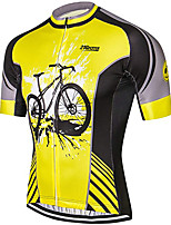 cheap -21Grams Men's Short Sleeve Cycling Jersey 100% Polyester Black / Yellow Patchwork Bike Jersey Top Mountain Bike MTB Road Bike Cycling UV Resistant Breathable Quick Dry Sports Clothing Apparel