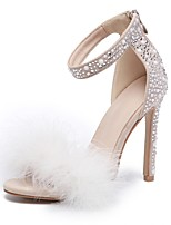 cheap -Women's Wedding Shoes Stiletto Heel Round Toe Suede Summer Beige