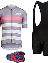 cheap -21Grams Men's Short Sleeve Cycling Jersey with Bib Shorts Pink / Black Stripes Bike Clothing Suit UV Resistant Breathable 3D Pad Quick Dry Sweat-wicking Sports Solid Color Mountain Bike MTB Road Bike