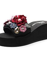 cheap -Women's Slippers & Flip-Flops Wedge Heel Open Toe Rhinestone / Imitation Pearl / Satin Flower Polyester Sweet / Chinoiserie Walking Shoes Summer Red / Pink / Dark Blue / Color Block