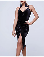 cheap -Latin Dance Club Costume Women's Performance Polyester Taffeta Split Sleeveless Dress