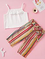 cheap -Baby Girls' Street chic Striped Sleeveless Regular Clothing Set White