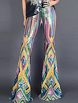 cheap -Hippie Disco Vintage Boho 1960s Pants Flowy Pants Women's Sequins Sequin Costume Rainbow Vintage Cosplay Party