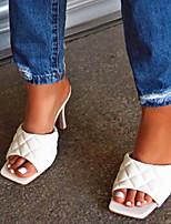 cheap -Women's Sandals Chunky Heel Open Toe PU Summer White