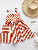 cheap -Kids Girls' Striped Dress Orange