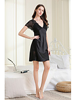 cheap -Women's Backless / Cut Out / Mesh Gartered Lingerie / Robes / Suits Nightwear Jacquard / Solid Colored Blushing Pink Black S M L