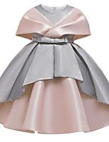 cheap -Kids Girls' Active Sweet Patchwork Criss Cross Sleeveless Knee-length Dress Dusty Rose