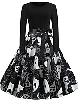 cheap -Women's Party Daily Vintage Style Sexy Swing Dress - Print Patchwork Print Black S M L XL