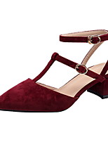 cheap -Women's Heels Chunky Heel Pointed Toe Suede Spring & Summer Black / Wine / Almond