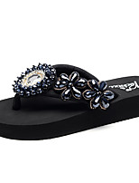 cheap -Women's Slippers & Flip-Flops Flat Heel Open Toe Imitation Pearl / Sparkling Glitter / Stitching Lace Polyester Casual / Minimalism Walking Shoes Summer Black