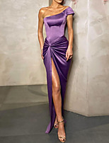 cheap -Sheath / Column Sexy Purple Party Wear Prom Dress One Shoulder Short Sleeve Floor Length Polyester with Draping Split 2020