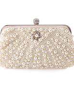 cheap -Women's Pearls / Chain Polyester Evening Bag Solid Color White