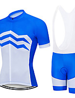 cheap -21Grams Men's Short Sleeve Cycling Jersey with Bib Shorts Blue / White Stripes Bike Clothing Suit UV Resistant Breathable 3D Pad Quick Dry Sweat-wicking Sports Solid Color Mountain Bike MTB Road Bike