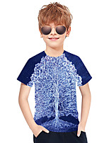 cheap -Kids Boys' Active Punk & Gothic Color Block 3D Plaid Short Sleeve Tee Blue