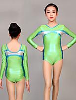 cheap -Rhythmic Gymnastics Leotards Artistic Gymnastics Leotards Women's Girls' Leotard Green Spandex High Elasticity Handmade Jeweled Diamond Look Long Sleeve Competition Dance Rhythmic Gymnastics Artistic