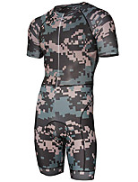 cheap -21Grams Men's Short Sleeve Triathlon Tri Suit Camouflage Geometic Camo / Camouflage Bike Clothing Suit UV Resistant Breathable 3D Pad Quick Dry Sweat-wicking Sports Solid Color Mountain Bike MTB Road