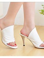 cheap -Women's Sandals Stiletto Heel Open Toe PU Summer Black / White