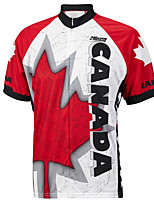 cheap -21Grams Men's Short Sleeve Cycling Jersey 100% Polyester Red / White Leaf Canada Bike Jersey Top Mountain Bike MTB Road Bike Cycling UV Resistant Breathable Quick Dry Sports Clothing Apparel