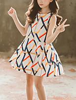cheap -Kids Girls' Cute Blue & White Geometric Print Sleeveless Above Knee Dress White