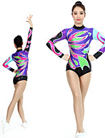 cheap -Rhythmic Gymnastics Leotards Artistic Gymnastics Leotards Women's Girls' Kids Leotard Spandex High Elasticity Handmade Long Sleeve Competition Dance Rhythmic Gymnastics Artistic Gymnastics Purple