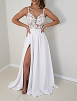 cheap -A-Line V Neck Floor Length Polyester / Charmeuse Sexy / White Prom / Formal Evening Dress with Appliques / Split 2020