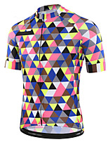 cheap -21Grams Men's Short Sleeve Cycling Jersey 100% Polyester Blue+Pink Plaid / Checkered Bike Jersey Top Mountain Bike MTB Road Bike Cycling UV Resistant Breathable Quick Dry Sports Clothing Apparel