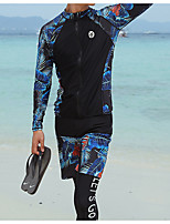 cheap -Men's Rash Guard Dive Skin Suit Diving Suit UV Sun Protection Anatomic Design Full Body Front Zip 3-Piece - Diving Water Sports Painting Summer / Micro-elastic