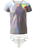cheap -Men's Ruched Suits Nightwear Solid Colored Silver Royal Blue Brown S M L