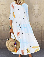 cheap -Women's Shift Dress - Print White Maxi S M L XL