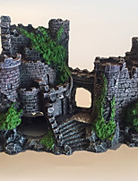 cheap -Aquarium Medieval Resin Castle Decorations - Fish Tank Realistic Castle Decoration AccessoriesCastle Shelter for Aquarium Reptile Betta Fish