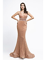 cheap -Mermaid / Trumpet Beautiful Back Sexy Engagement Formal Evening Dress Spaghetti Strap Sleeveless Court Train Spandex with Sash / Ribbon Criss Cross Beading 2020