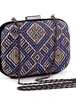 cheap -Women's Chain Polyester / Straw Evening Bag Geometric Pattern Black / Almond / Blue