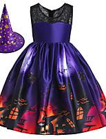cheap -Witch Princess Dress Flower Girl Dress Girls' Movie Cosplay A-Line Slip Halloween Purple Dress Cap Children's Day Polyester / Cotton Blend Polyster / Sleeveless