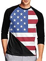cheap -21Grams Men's Long Sleeve Cycling Jersey Downhill Jersey Dirt Bike Jersey 100% Polyester Red+Blue American / USA Stars National Flag Bike Jersey Top Mountain Bike MTB Road Bike Cycling UV Resistant