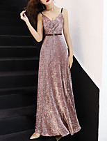 cheap -A-Line V Neck Floor Length Sequined Sexy / Pink Prom / Formal Evening Dress with Sash / Ribbon 2020