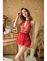 cheap -Women's Lace / Backless / Cut Out Robes / Suits Nightwear Jacquard / Solid Colored Wine Blushing Pink White One-Size