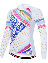 cheap -EVERVOLVE Women's Long Sleeve Cycling Jersey Terylene Blue / White Polka Dot Plaid / Checkered Geometic Bike Jersey Top Mountain Bike MTB Road Bike Cycling Breathable Quick Dry Sweat-wicking Sports